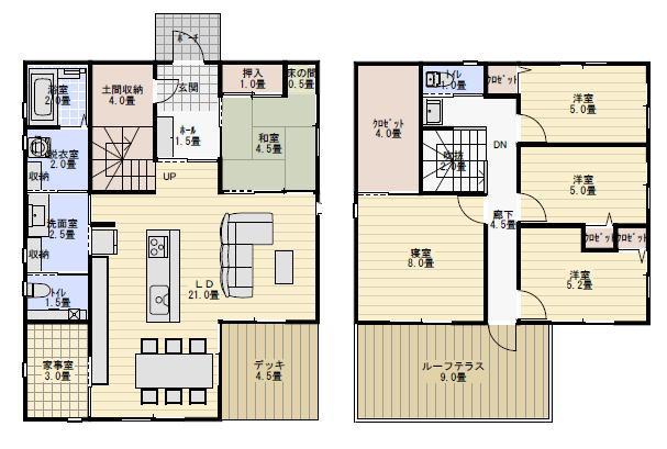 40坪5LDK家事室と回遊性のある住宅の間取り図